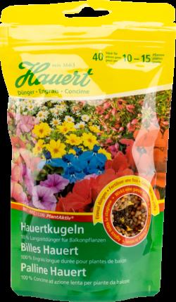 Hauertkugeln für Balkonpflanzen.
